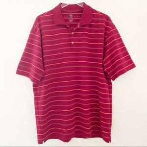 Nike Golf Red Striped Polo Shirt Size XL